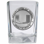 University of Miami Hurricanes Pewter Accent Shot Glasses, Set of 4