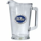 University of Mississippi Rebels Blue Glass Pitcher with Pewter Accent