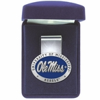 University of Mississippi Rebels Blue Pewter Accent Steel Money Clip