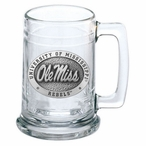 University of Mississippi Rebels Pewter Accent Glass Beer Mug