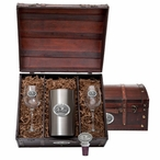 University of Mississippi Rebels Pewter Accent Wine Chest Set