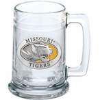 University of Missouri Tigers Yellow Pewter Accent Glass Beer Mug