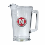 University of Nebraska Cornhuskers Red Glass Pitcher w/ Pewter Accent