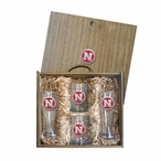 University of Nebraska Cornhuskers Red Pewter Accent Beer Box Set