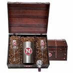 University of Nebraska Cornhuskers Red Pewter Accent Wine Chest Set