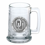 University of Oklahoma Sooners Pewter Accent Glass Beer Mug