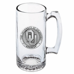 University of Oklahoma Sooners Pewter Accent Glass Super Beer Mug