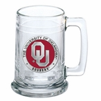 University of Oklahoma Sooners Red Pewter Accent Glass Beer Mug