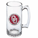 University of Oklahoma Sooners Red Pewter Accent Glass Super Beer Mug