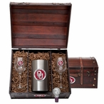 University of Oklahoma Sooners Red Pewter Accent Wine Chest Set