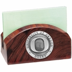 University of Oregon Ducks Wood Business Card Holder w/ Pewter Accent