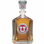 University of Utah Utes Red Capitol Glass Decanter with Pewter Accents