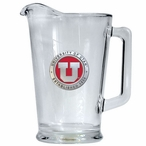 University of Utah Utes Red Glass Pitcher with Pewter Accent