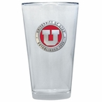 University of Utah Utes Red Pewter Accent Pint Beer Glasses, Set of 2