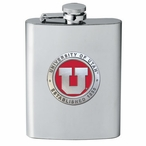 University of Utah Utes Red Stainless Steel Flask with Pewter Accent