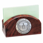 University of Utah Utes Wood Business Card Holder with Pewter Accent