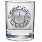 Utah Utes Pewter Accent Double Old Fashion Glasses, Set of 2