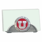 Utah Utes Red Metal Business Card Holder with Pewter Accent