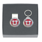 Utah Utes Red Pewter Accent Money Clip & Key Chain Gift Set