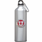 Utah Utes Red Pewter Accent Stainless Steel Water Bottle