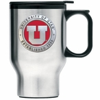 Utah Utes Red Stainless Steel Travel Mug with Handle & Pewter Accent