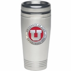 Utah Utes Red Stainless Steel Travel Mug with Pewter Accent