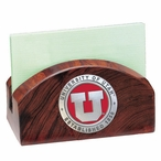Utah Utes Red Wood Business Card Holder with Pewter Accent