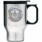 Utah Utes Stainless Steel Travel Mug with Handle & Pewter Accent