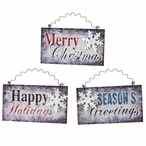 Vintage Style Snowflake Wall Signs, Set of 3