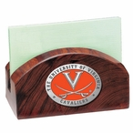 Virginia Cavaliers Orange Wood Business Card Holder with Pewter Accent