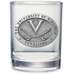 Virginia Cavaliers Pewter Accent Double Old Fashion Glasses, Set of 2