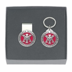 Virginia Military Institute Red Pewter Money Clip & Key Chain Gift Set