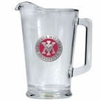 Virginia Military Institute VMI Keydets Red Glass Pitcher with Pewter
