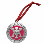 Virginia Military Institute VMI Keydets Red Pewter Ornaments, Set of 2
