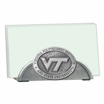 Virginia Tech Hokies Logo Metal Business Card Holder w/ Pewter Accent