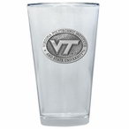 Virginia Tech Hokies Logo Pewter Accent Pint Beer Glasses, Set of 2