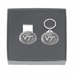 Virginia Tech Hokies Logo Pewter Money Clip & Key Chain Gift Set