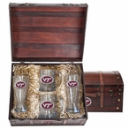 Virginia Tech Hokies Logo Red Pewter Accent Beer Chest Box Set
