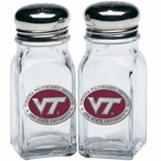 Virginia Tech Hokies Logo Red Pewter Accent Salt & Pepper Shakers