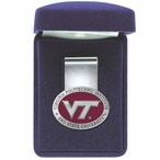 Virginia Tech Hokies Logo Red Pewter Accent Steel Money Clip