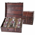 Virginia Tech Hokies Logo Red Pewter Capitol Decanter Chest Set