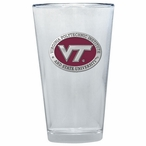 Virginia Tech Hokies Logo Red Pewter Pint Beer Glasses, Set of 2