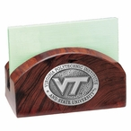 Virginia Tech Hokies Logo Wood Business Card Holder with Pewter Accent