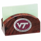 Virginia Tech Hokies Red Logo Wood Business Card Holder with Pewter