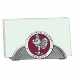 Virginia Tech Hokies Red Metal Business Card Holder with Pewter Accent