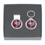 Virginia Tech Hokies Red Pewter Money Clip & Key Chain Gift Set