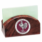 Virginia Tech Hokies Red Wood Business Card Holder with Pewter Accent