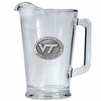 Virginia Tech University Hokies Logo Glass Pitcher with Pewter Accent