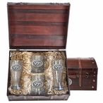 Virginia Tech University Hokies Logo Pewter Accent Beer Chest Box Set
