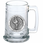 Virginia Tech University Hokies Pewter Accent Glass Beer Mug
